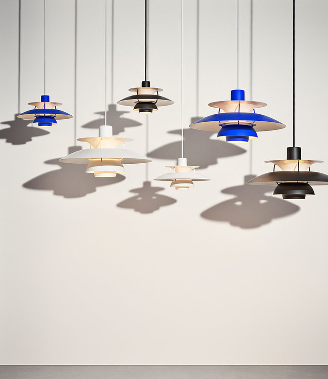 Louis Poulsen PH5 Pendant in black, white and ultra blue
