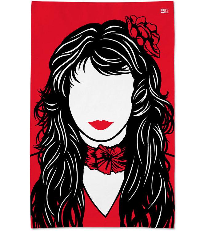 Bold & Noble Red Icons Tea Towel Kate Bush