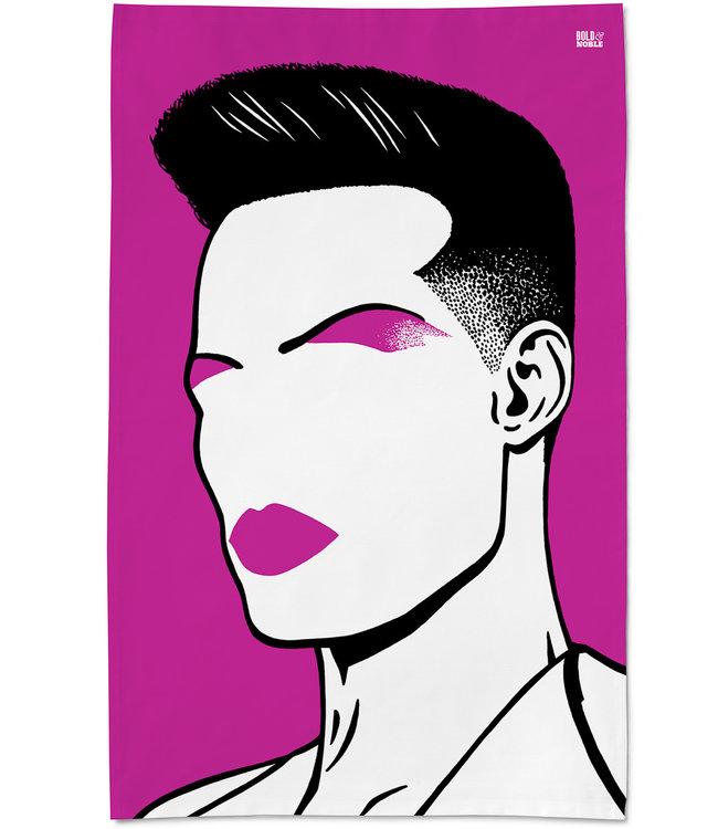 Paarse Icons Theedoek Grace Jones