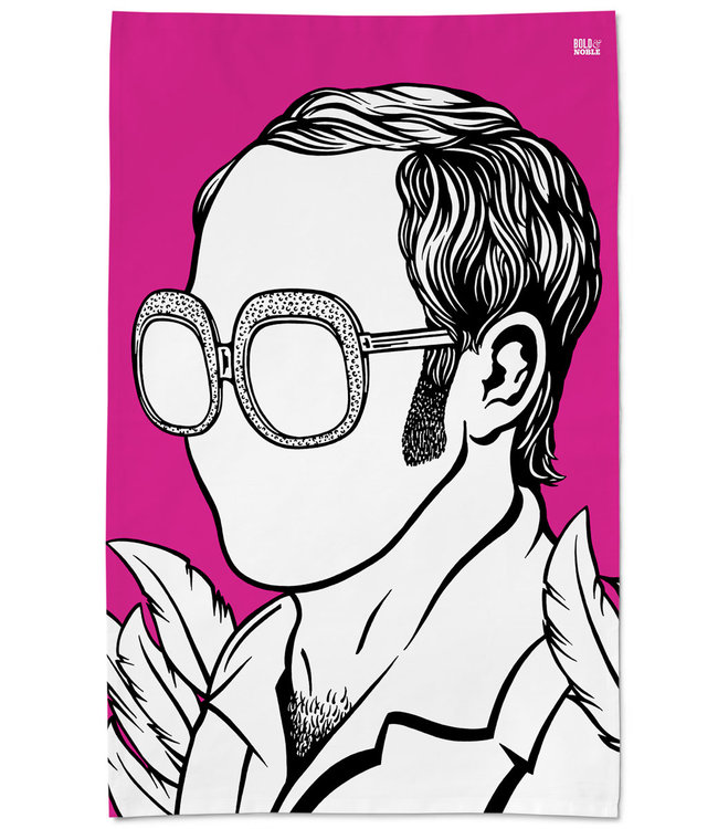 Bold & Noble Pink Icons Tea Towel Elton John