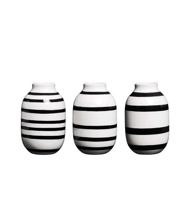 Kähler Design  Set van 3 Omaggio Vaasjes Miniature Zwart