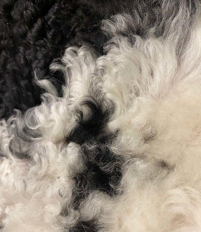 Dyreskinn Tibetaans Lamsvacht Zwart Wit gemêleerd