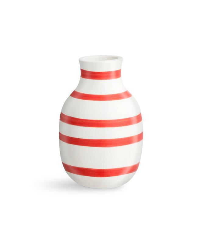 Kähler Design Striped Omaggio Vase H12,5 Scarlet Red