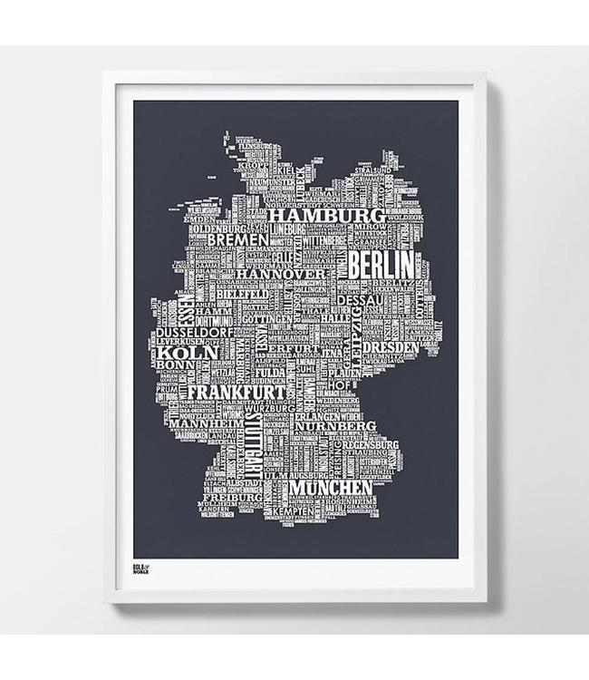 Bold & Noble Type Map Germany | dark grey