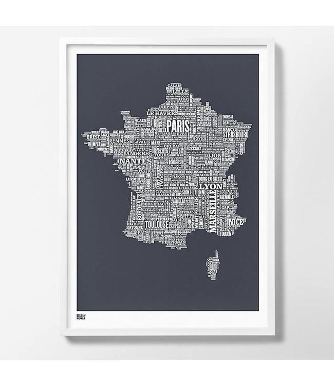 Bold & Noble Type Map France | dark grey