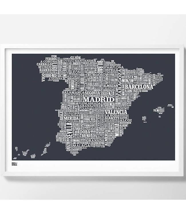 Bold & Noble Type map Spanje Donker grijs