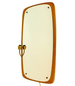 Vintage Swedish Mirror with Lamp
