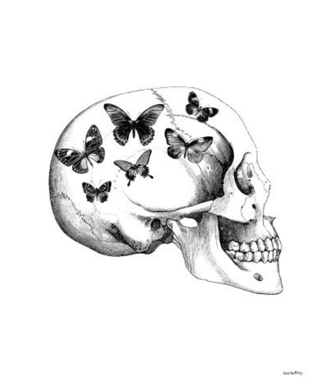 Vanilla Fly Print | SKULL WITH BUTTERFLIES 30x40