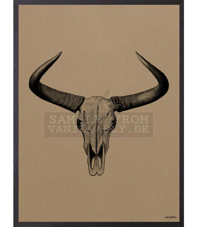 Vanilla Fly Print with frame oak 20x25 cm | BULL Mocca
