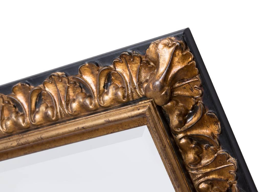 Padua - Goldener Spiegelrahmen mit braunem Rand