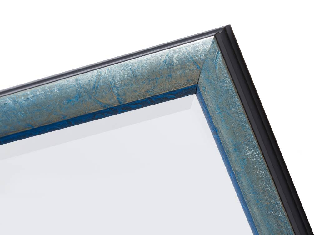 Atessa - Spiegel mit silberblauem Rahmen