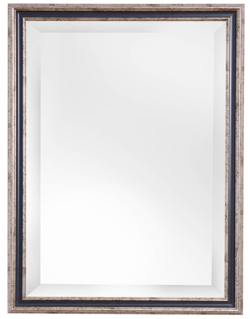 Varzi - Spiegel mit silbernem Rahmen und dunkelblauem Rand