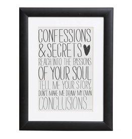Confessions & Secrets - Plakat mit Passepartout im schwarzen Holzrahmen