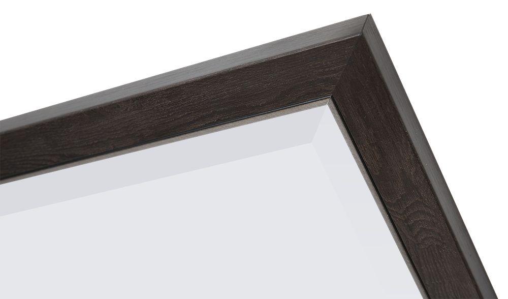 Rimini - Spiegel mit schmalem dunkelbraunem Rahmen mit Silber