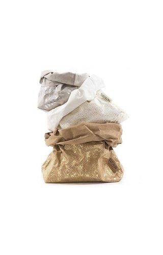 UASHMAMA® Sac de papier d'impression moderne naturel / or