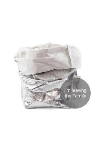 UASHMAMA® Sac en papier Argent / Blanc