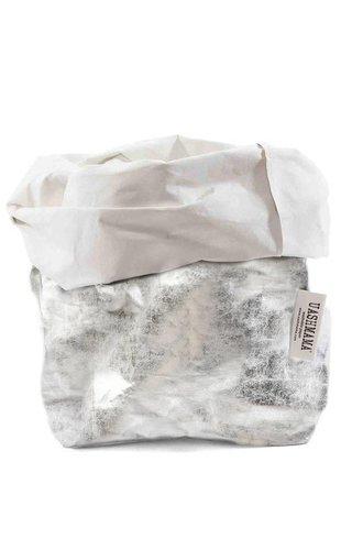 UASHMAMA® Paper Bag Nuvola White / Silver