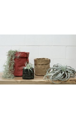 UASHMAMA® Paper Bag Round Tec D. Grey