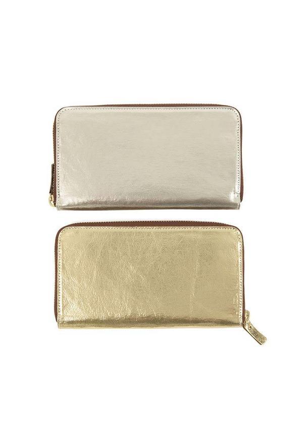 White Wallet Zip Metallic