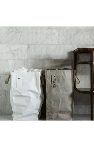 UASHMAMA® Sac à linge Lapo avec dessus en lin