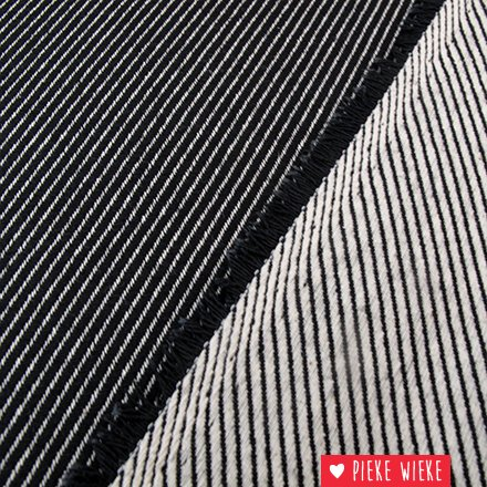 Canvas jacquard oblique woven lines Black - white