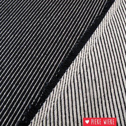 Canvas jacquard  schuin geweven lijnen Zwart - wit