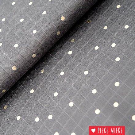 Rico design Double Gauze Hotfoil Antraciet grijs