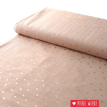 Rico design Double Gauze Hotfoil  Powder Pink