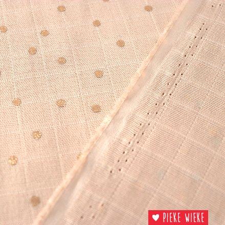 Rico design Double Gauze Hotfoil Poeder roze