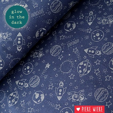 Poppy Tricot Glow in the dark space dark blue