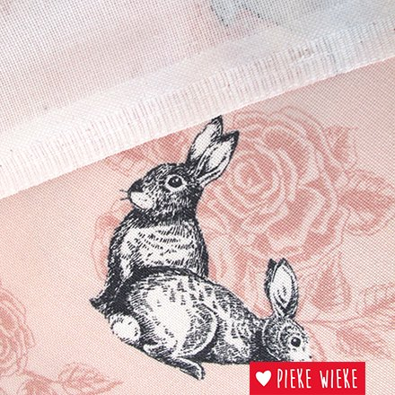 Poppy Canvas Fox and rabit pink