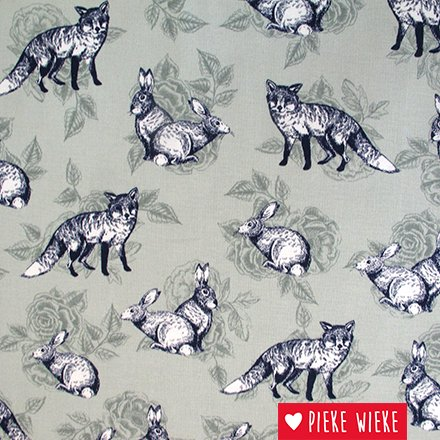 Poppy Canvas Fox and rabit mint