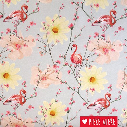Poppy Canvas Flamingo flowers