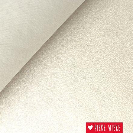Kunstleer extra soepel  Metallic wit