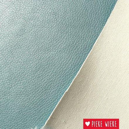 Kunstleer extra soepel  Metallic Licht blauw