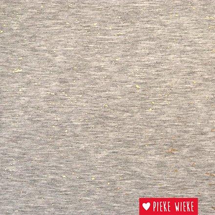 Viscose tricot gold spash grijs gemelleerd