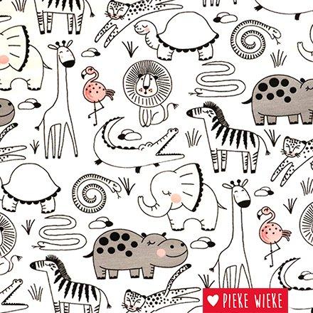 Magic fabric Jersey  safari dieren, color appears in sunlight