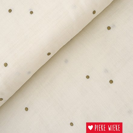 Atelier Brunette Double Gauze Stardust Gebroken wit