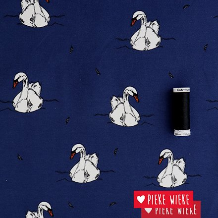 Bloome CPH French terry Swimming Swan Nigth blue