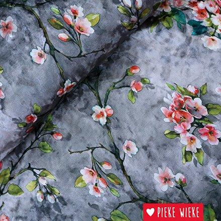 Stretch velvet blossom gray