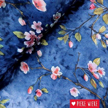 Stretch velours bloesem blauw