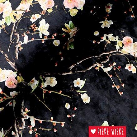 Stretch velvet blossom black