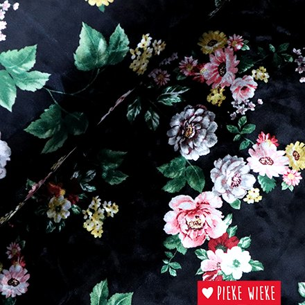 Stretch velours bloemen zwart