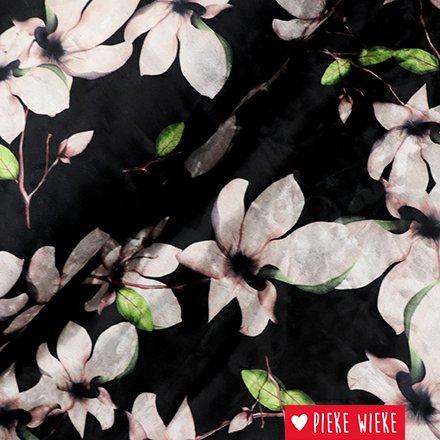 Stretch velours magnolias zwart