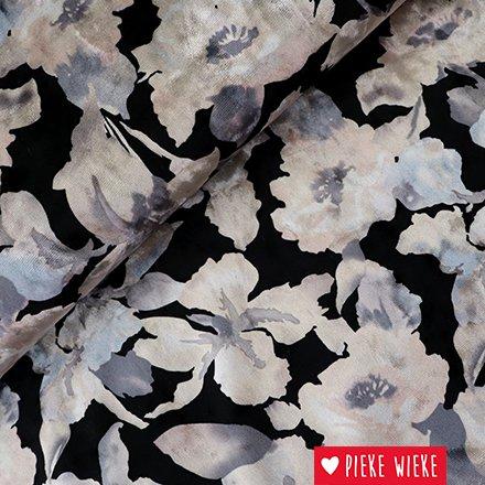 Stretch velours bloemen Zwart -zilver