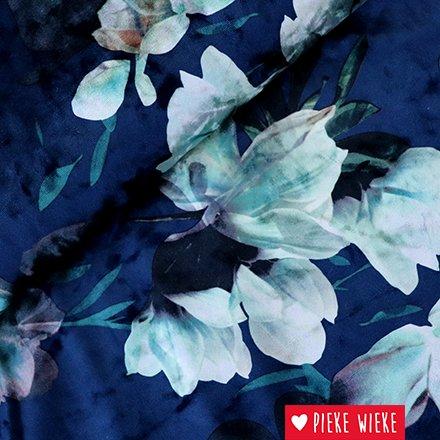 Stretch velours bloemen Blauw