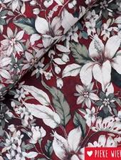 Katoen viscose bloemen bordeaux