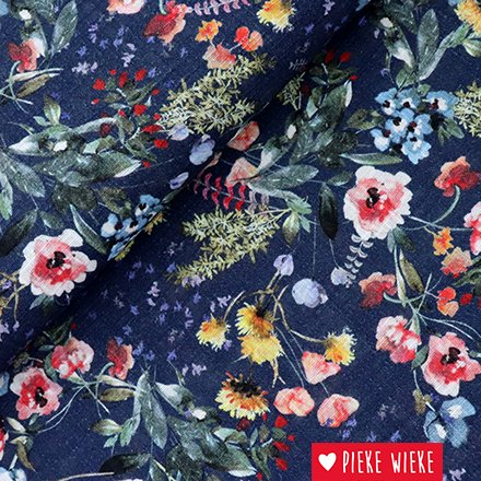 Katoen viscose bloemen blauw