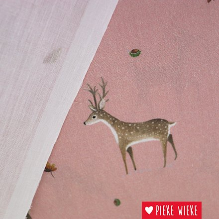 Cotton fabric with deer, pink