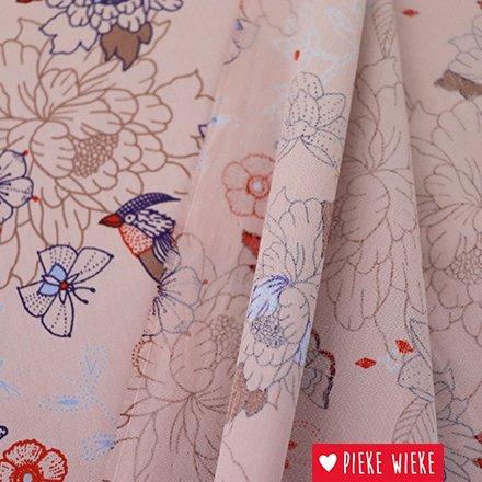 Katia Katoen stof popline Oriental Japanese Roze